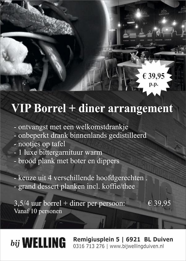 VIP Borrel+dinerarrangement